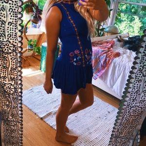 Blue Peplum Gypsy Boho Tribal Dress